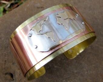 Globe cuff, romantic map, earth bracelet