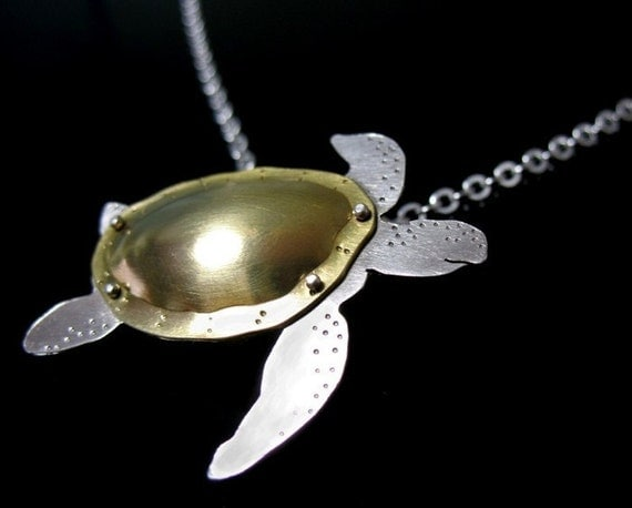 SAVE THE GULF sea turtle necklace