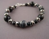 Beaded Bracelet-Faceted Banded Onyx Beads 1-029