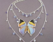 Butterfly Necklace Swarovski Crystals Blue, Purple, and White 030