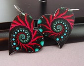 Spiral Heart Earrings Hot Pink Magenta and Turquoise 027