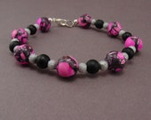 Beaded Bracelet Hot Pink and Black Stone and Glass Beads