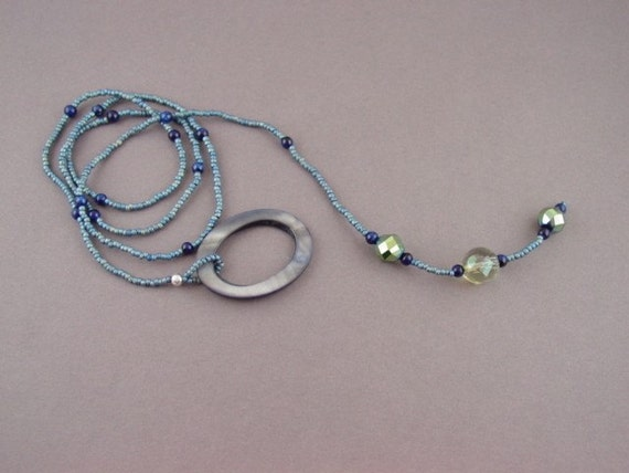 Beaded Lariat Necklace-Blue Shell Oval Ring