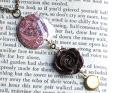 Love Letters And Roses - An Antique Gold Charm Necklace with Tiny Brass Locket - Choose Your Rose Color