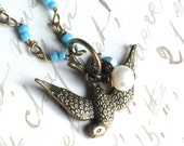 Antique Brass Sparrow Bird Necklace on Turquoise Beaded Chain with Pearl