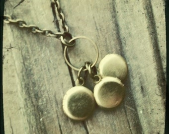 Tiny Brass Triple Locket Necklace on Antique Gold Chain