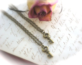 Matching Two Necklaces, Tiny Skeleton Key Necklaces, Boyfriend and Girlfriend, Best Friends