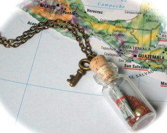 Tiny Pirate Treasure Bottle Necklace with Map and Skeleton Key