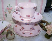 Tea for two cup and saucer set of two pink roses bone china Vintage