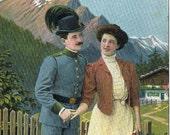Vintage Costume Postcard - Uniform - Alps - Europe