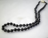 Vintage Necklace Black Glass Beads - Thirties