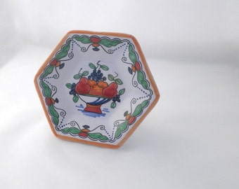 Vintage Dutch Friesian Hexagon Plate with Fruit - Makkum