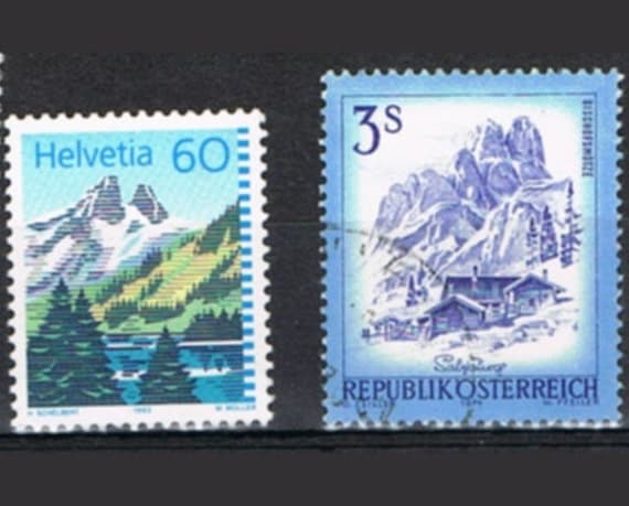 55 Vintage Postage Stamps - Mountains - The Alps