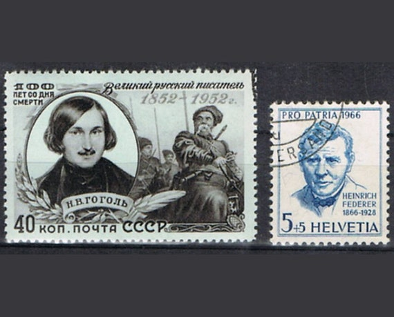 47 Vintage Postage Stamps - Famous Writers - Authors - Books - Literature