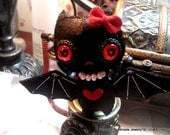 little black baby bat with red devil heart eyes  felt beaded  pupil bow water pearls wings brooch hair clip