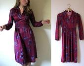 SALE -- vintage 1970s Wine and Purple Floral Print Polka Dot Dress -- XS/S