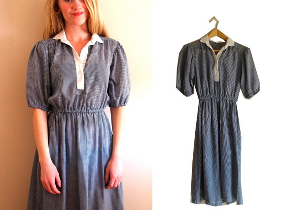 SALE -- vintage 1970s Blue and White Gingham Print Picnic Cotton Prairie Dress -- S