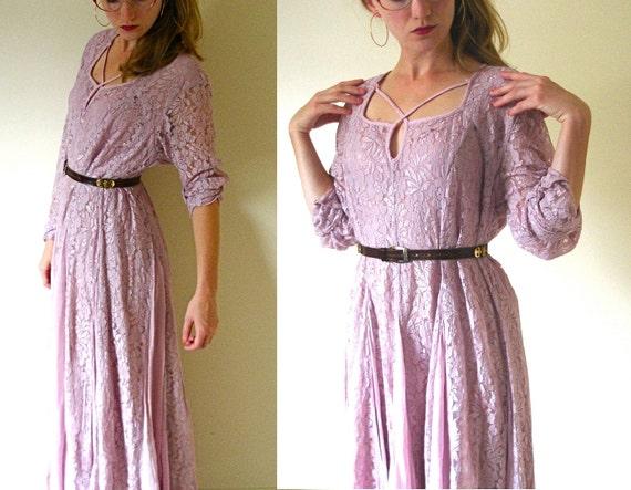 vintage 1980s All Lace Pink Mauve Maxi Dress -- S/M/L