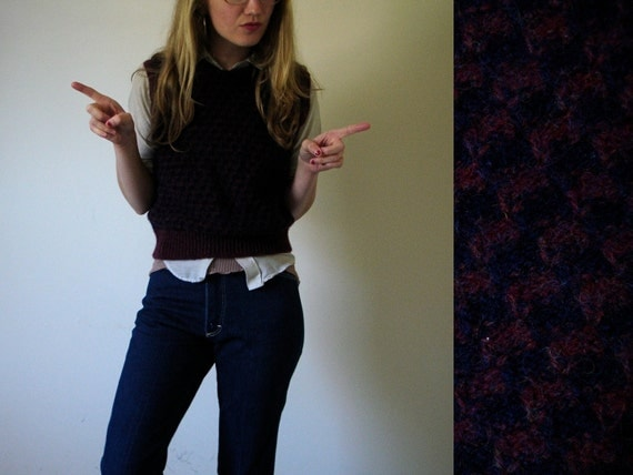 vintage Wine and Navy Blue Houndstooth Wool Vest -- XS/S/M