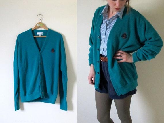 vintage 1980s Teal Izod Button Unisex Sweater Cardigan -- M/L/XL