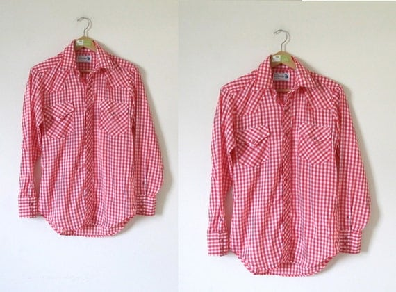 vintage 1960s Red and White Gingham Picnic Western Pearl Button Shirt -- S/M