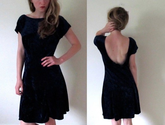 vintage 1990s Crushed Midnight Blue Velvet Dress with Scoop Back and Roses -- S