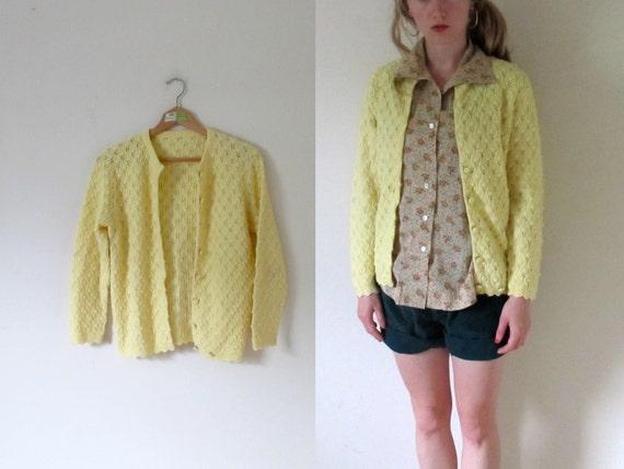 vintage 1960s Lemon Yellow Pointelle Dainty Granny Button Sweater Cardigan -- XS/S
