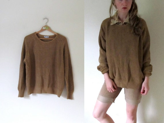 vintage 1980s Nutmeg Brown Loose Knit Slouchy Oversized Sweater -- S/M