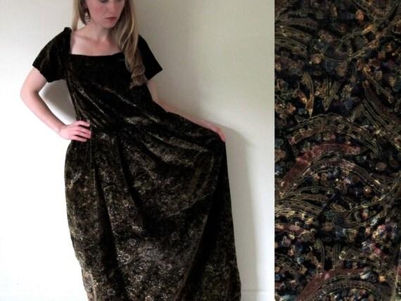 vintage 1960s Olive Green Velour Paisley Print Renaissance Gown -- L