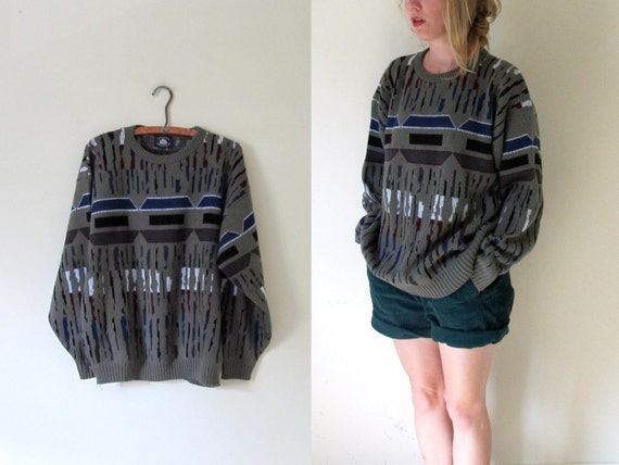 vintage 1980s Grey Abstract Print Oversized Sweater -- M/L