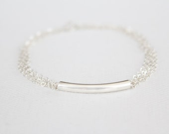 Curved Bar Bracelet - Sterling Silver Filled Bar - Multi Chain Bracelet