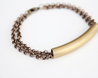 Curved Bar Bracelet - Vintage Brass Tube - Multi Chain Bracelet