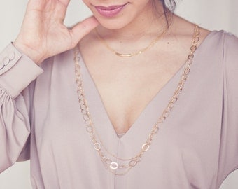14k Gold Filled Circle Link Long Layering Chain - Lafayette