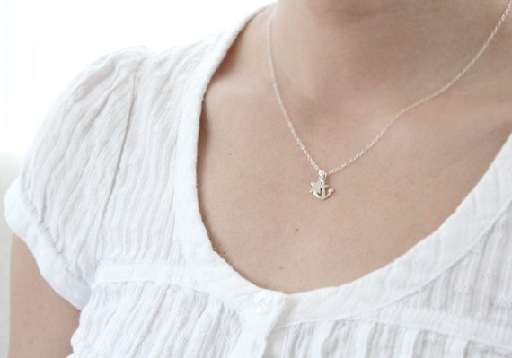Tiny Star and Anchor Necklace - Star Gazing At Sea