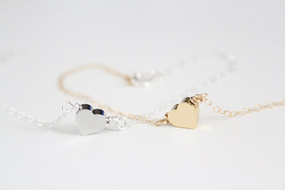 Heart Bracelet - Tiny Puffy Heart - Gold or Silver - Amore - SALE