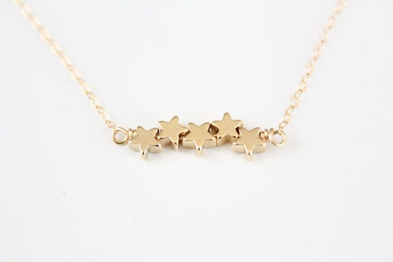Star Bracelet - Tiny Puffy Stars - Gold or Silver Shooting Stars