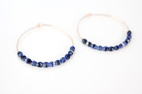Dark Blue and Black Beaded Hoop Earrings - Gold