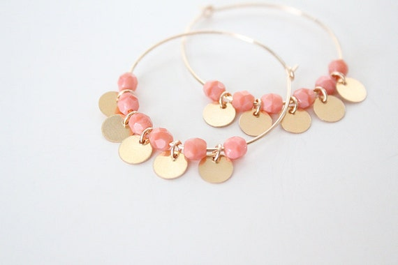 Gold Discs and Coral Beaded Hoop Earrings - Gold