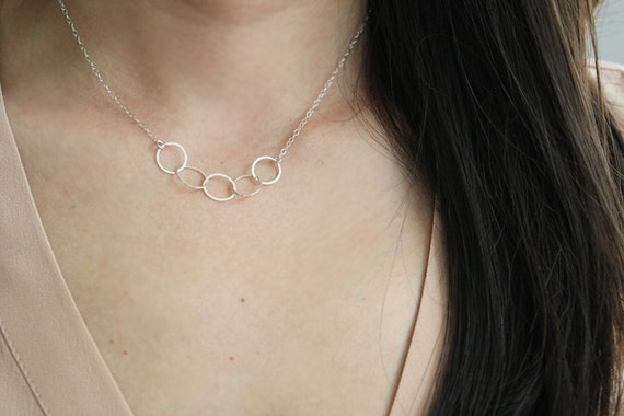 Sterling Silver Link Necklace - Starlet - SALE