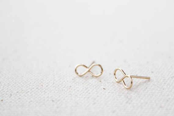 Tiny Infinity Earring Studs - Hand Formed - Figure Eights