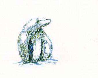 Polar bear sits....Alaskan Native Drawing....3 size options