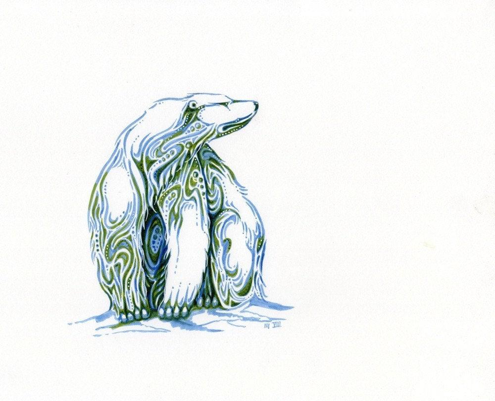 Sitting Bear Drawing