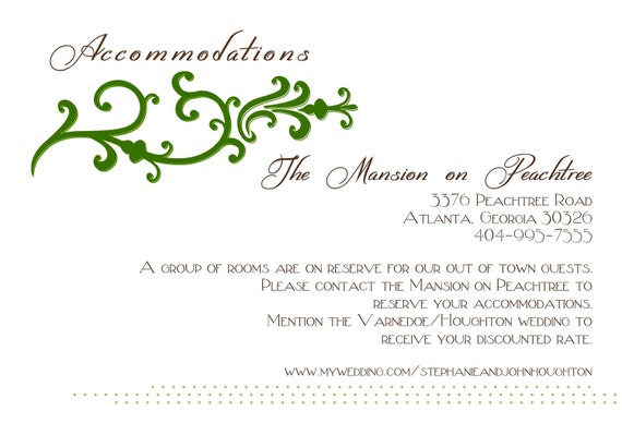 Accommodation Cards For Wedding Invitations: Wedding Stationery Accommodation Card For Stephanie