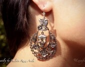 "Day of the Dead Mexican Skull Earrings - ""Rosas  y Calavera """