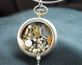 Steampunk Watchworks with Jewels Vintage Pearls and Coin