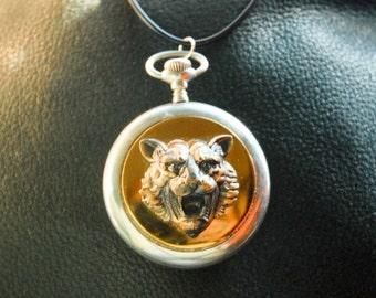 Vintage Brass Lion in Antique Pocket Watch Case