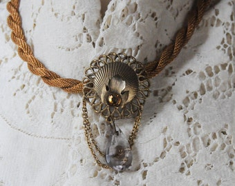 Twisted Mesh Necklace with Antique Brooch with Crystal Teardrop
