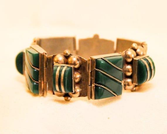 Large Sterling Silver Art Deco Bracelet 1930