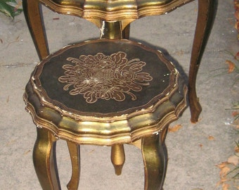 Sale Sale Wow Chic Hollywood Regency Italian Gold Gesso Florentine Accent Tables Wow