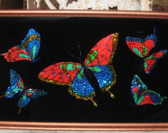 Way Chic Pretty Vintage Tray With Bright Foil Butterflys 1950s 1960s